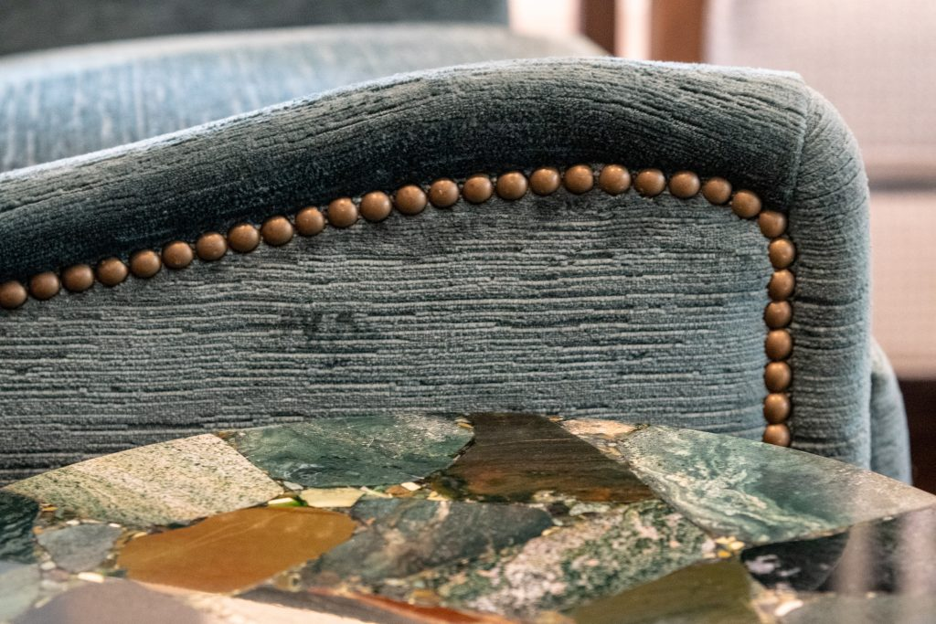 blue armchair detail