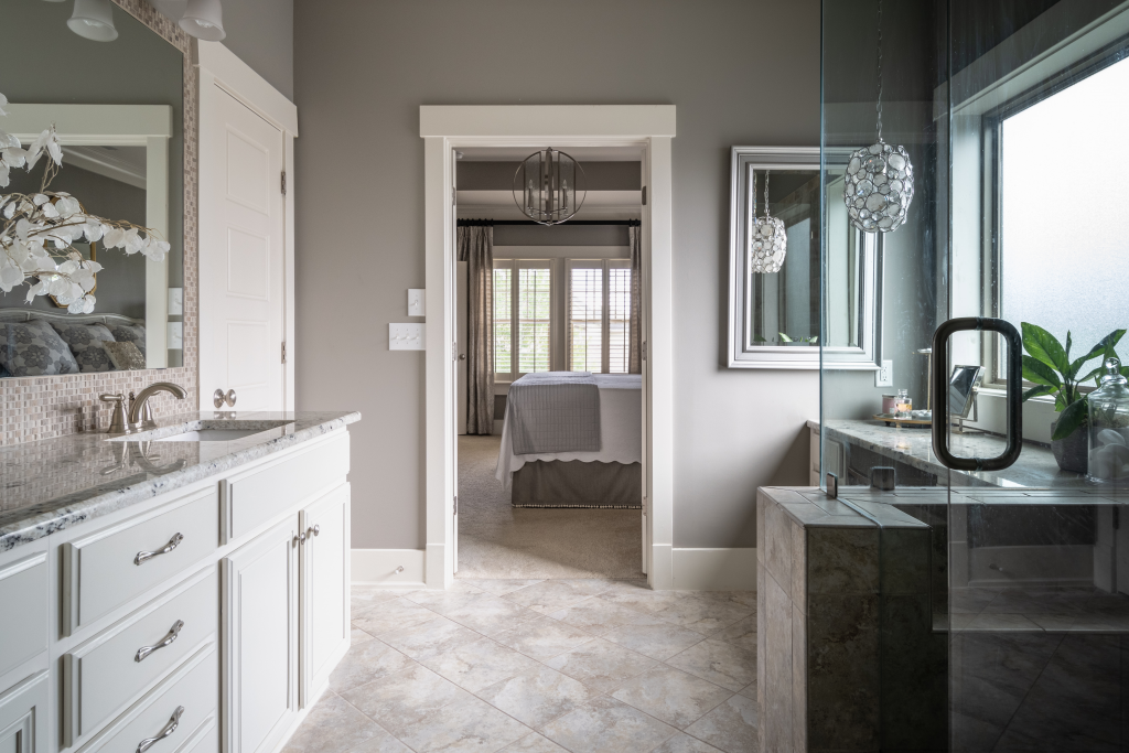 A neutral bathroom design created after a client learned how to design a new build.